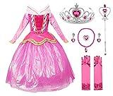 JerrisApparel Rosa Vestido de Princesa Disfraz Niña Vestido de Fiesta Vestido de Ceremonia (120cm, Rosa con Accesorios)