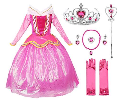 JerrisApparel Rosa Prinzessin Aurora Kleid Kostüm Mädchen Party Kleid (110cm, Rosa mit Zubehör)