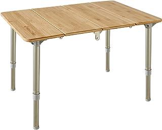 KingCamp アウトドアテーブル 高さ調整可能 キャンプ 4折 ロール 竹製 折りたたみ バーベキュー 収納袋付き