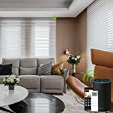 Yoolax Motorized Window Blinds Shangri-la Sheer Shades Light Filtering Remote Control Wireless Rechargeable Capable with Alexa and Siri Customized (White)
