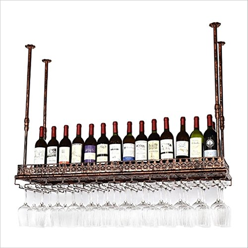 XAGB Wine Glass Holder, Vintage Wine Glass Rack Hierro Forjado Wine Glass Holder, Hanging Wine Rack Champagne Glass Holder (Brown) (Size : 80 * 35cm)