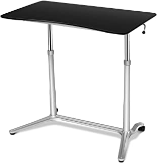 Tangkula Standing Desk Computer Desk, Height Adjustable Sit Stand Desk with Movable Wheels, Portable Writing Study Laptop Table of Iron Pipe Frame, MDF, PVC Tabletop, for Home Office Dorm, Black