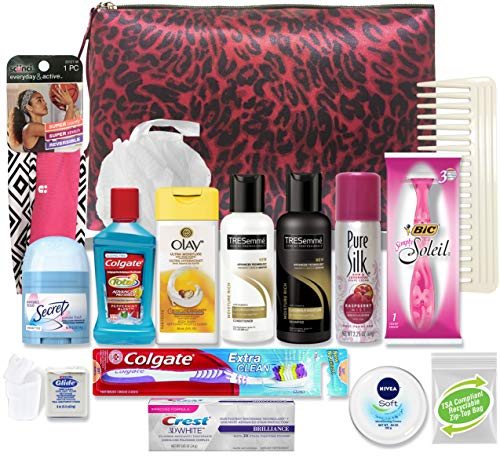 Convenience Kits International Women's Premium 19-Piece Travel with Travel Size TSA Compliant Essentials Featuring: Tresemme Hair Products in Stylish Cosmetic Bag