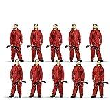 TK Gruppe Timo Klingler 5X Kostüm Gruppenkostüm Set wie Haus des Geldes - mit Dali Salvador Maske, aufblasbares Gewehr, roter Overallanzug, für Fasching & Halloween (5X)