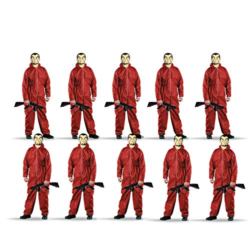 TK Gruppe Timo Klingler 10x Kostüm Gruppenkostüm Set wie Haus des Geldes - mit Dali Salvador Maske, aufblasbares Gewehr, roter Overallanzug, für Fasching & Halloween (10x)
