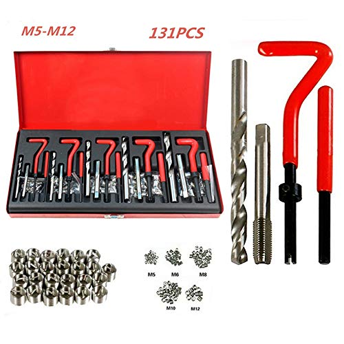 Opaltool 131 Stück Helicoil Gewinde-Reparaturset, M5, M6, M8, M10, M12, Gewindewerkzeug, Spiralbohrer für Automotor