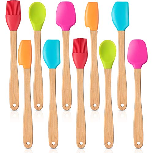 Wood Handled Mini Spatula Mini Silicone Baking Spatulas Set Silicone Brush with Wooden Handles, Spoon, Spatula for Kitchen Cooking Mixing (10)
