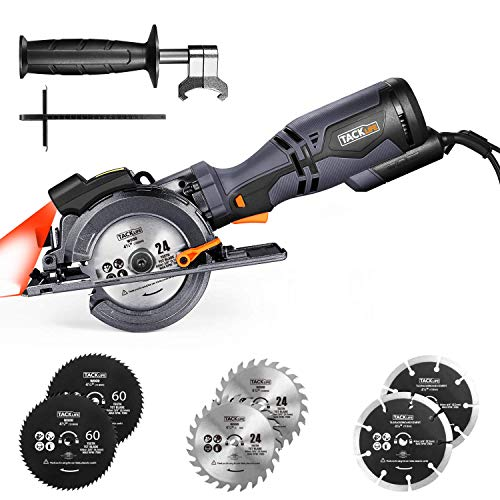 """TACKLIFE Compact Circular Saw with 6 Blades (4-3/4"""" & 4-1/2""""), Laser Guide, 5.8A, Cutting Depth 1-11/16'' (90°), 1-3/8'' (45°), Metal Handle"""