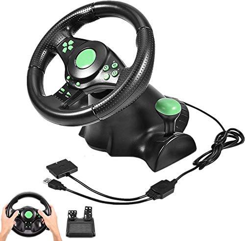 Racing Wheel, Racing Simulator Volants avec 2 pédales Vibration Feedback, Couronne d'orientation poignée antidérapante, 180 ° Angle de Rotation, Convient pour PS2 PS3 / PC,Vert