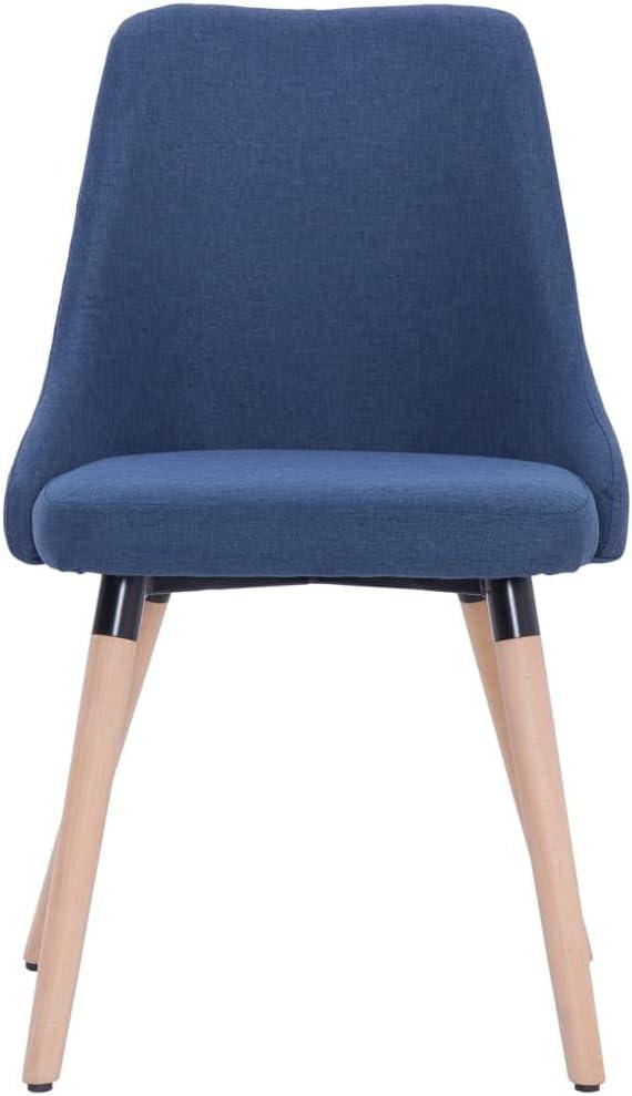 Tidyard Lot de 2 Chaises de Salle à Manger en Tissu Doux et Durable Style Moderne Noir 43 x 43 x 83 cm Bleu