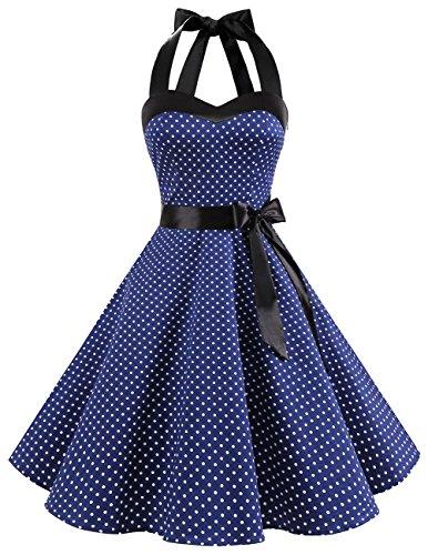 DRESSTELLS Neckholder Rockabilly 1950er Polka Dots Punkte Vintage Retro Cocktailkleid Petticoat Faltenrock Navy White Dot M