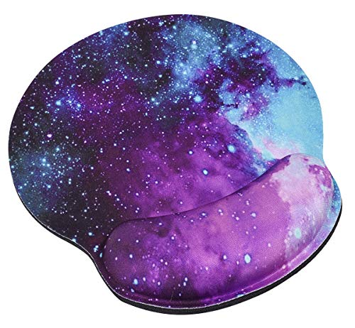 Mouse Pad with Wrist Support Protect Your Wrists, Memory Foam Ergonomic Mouse Pad with Wrist Rest Pain Relief Desk Pad, Speedy and High Precision Healthy Material for PC Computer Laptop Mac(Galaxy)