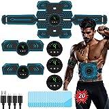 TouchSKY EMS Electroestimulador Muscular Abdominales, USB Recargable EMS Estimulador Muscular Abdominales ABS Estimulador Muscular para Abdomen/Cintura/Pierna/Brazo