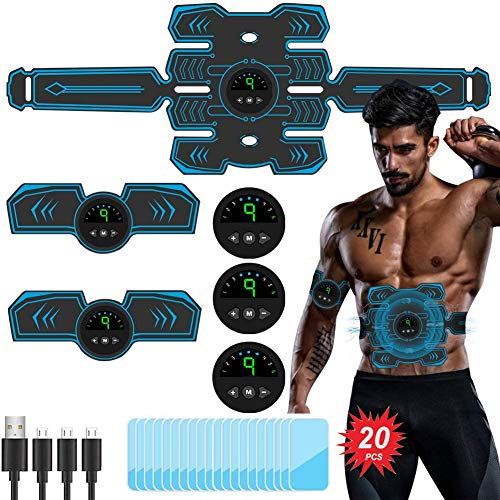 TouchSKY EMS Electroestimulador Muscular Abdominales, USB Recargable EMS Estimulador Muscular Abdominales ABS Estimulador Muscular para Abdomen/Cintura/Pierna/Brazo
