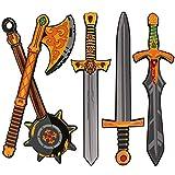OUFOTAT 5 Pcs Toy Swords Set for Kids - Foam Sword Axe Hammer Ninja Weapons Toys - Pretend Play Medieval Warrior Knight Costume Accessories Golden Foam Swords for Boys Girls Toddlers Gift