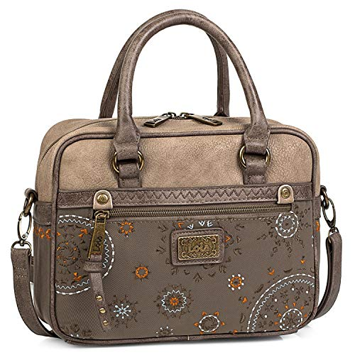 Lois - Handtasche für Damen. Bowling Bag. Schultertasche. Umhängetasche. Henkeltasche Praktisch und bequem. Design und Qualität. 304441, Color Braun
