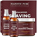 Majestic Pure Shaving Kit for Men with Sandalwood - Set Includes Pre Shave Oil, Shaving Cream, and...