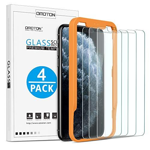 OMOTON [4 Stück Schutzfolie für iPhone 11 Pro Max und iPhone XS Max [6.5 Zoll], Panzerglasfolie mit Positionierhilfe, Anti-Kratzen, Anti-Öl, Anti-Bläschen, Hülle Freundllich, 2.5D Kante