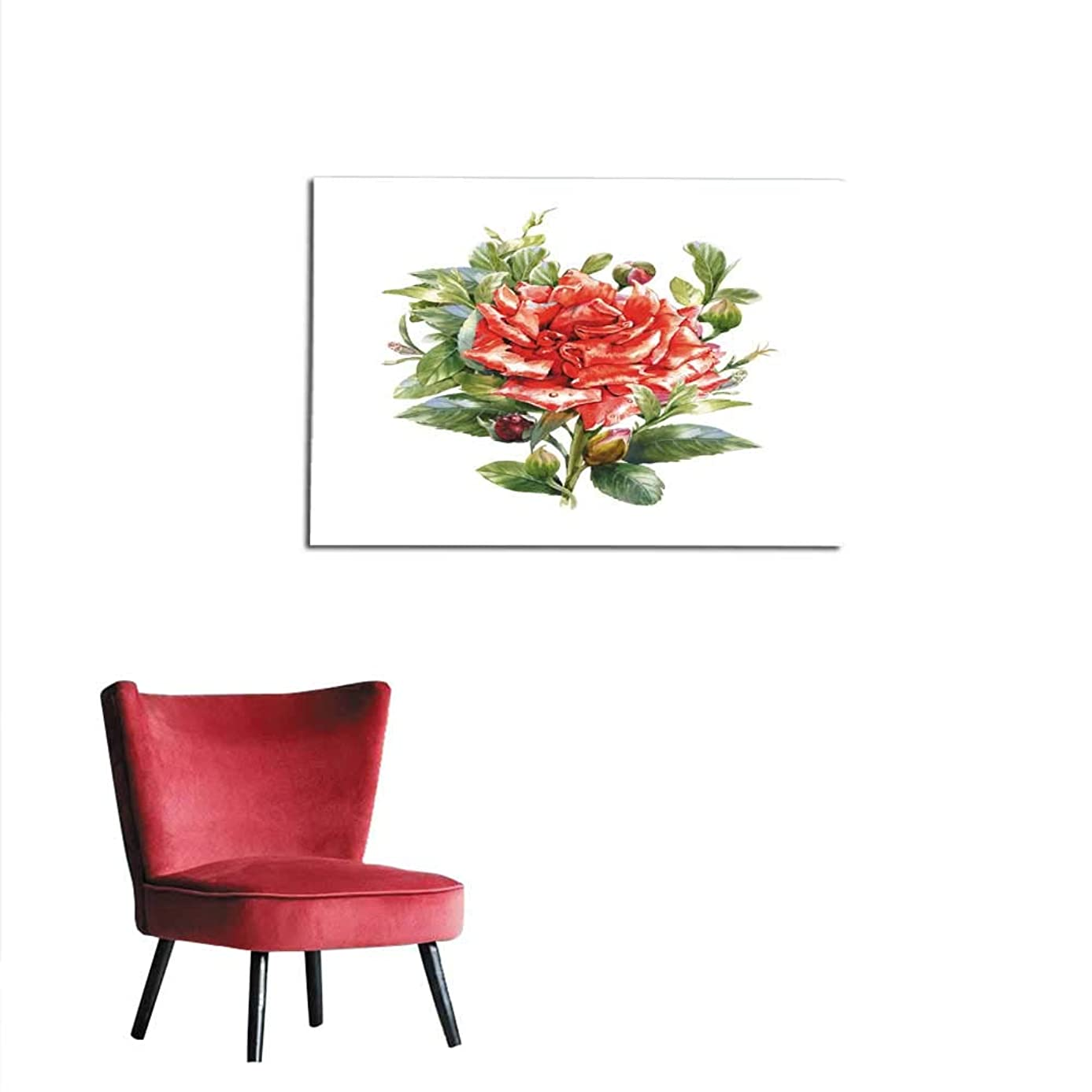Wallpaper Watercolor Painting of Flower Rose on White Background Mural 36