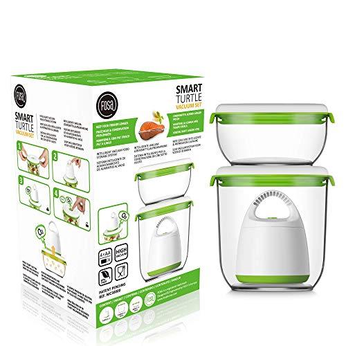 FOSA 2 x Recipientes para envasado al vacío + envasadora de vacío, Recipientes redondos para conservar alimentos, Incluida bomba para envasado al vacío, material libre de BPA
