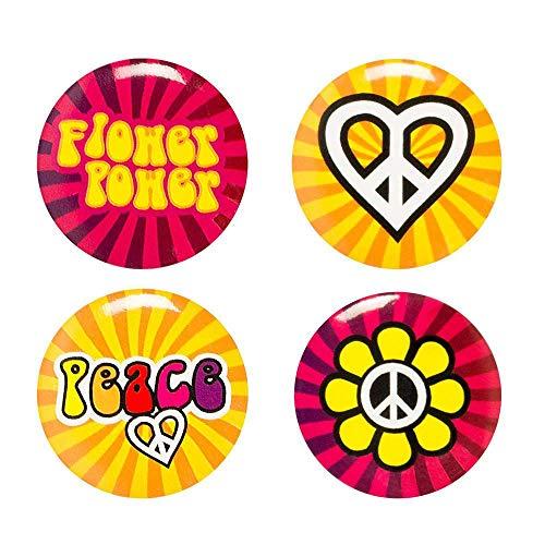 Boland 44508 - Buttons Hippie mit Anstecknadel, 4 Stück, Durchmesser 3 cm, Anstecker, Peace, Flower Power, Mitgebsel, Accessoire, Mottoparty, Karneval