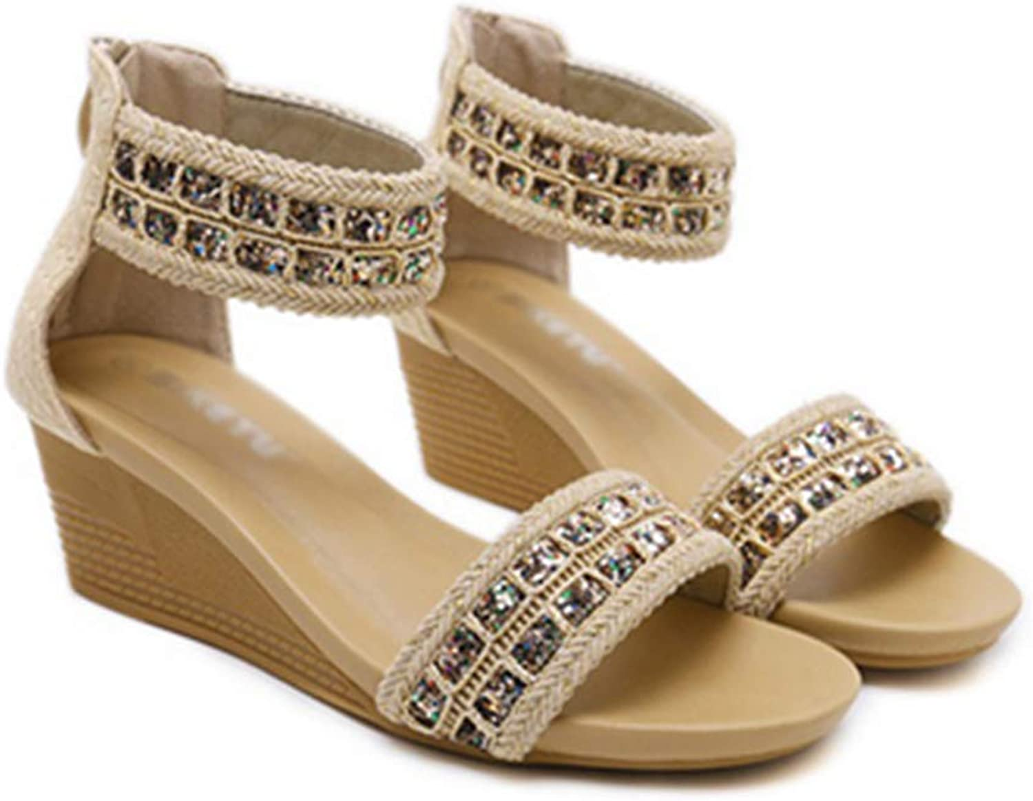 Women Sandals Wedge Open-Toe Bohemia Style Ladies Summer Casual Soft shoes
