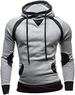 Fanteecy Mens Slim Fit Hoodie Color Block Pullover Hooded Sweatshirt Outwear Hoodies with Kanga Pocket