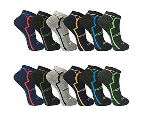 12 Paar Herren Sport Freizeit Sneaker Socken Füßlinge Baumwolle 39-42 / mehrfa