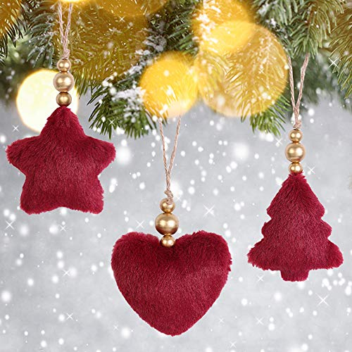 Christmas Tree Ornaments Plush Heart Star Tree Decorations for Holiday Party Decor, 3D Christmas Tree Plush Ornaments , Tree Decoration for Christmas Supplies-3 PCS in Red Color