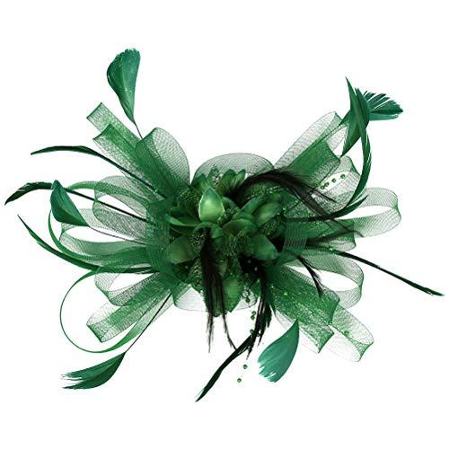 Fascinators Chapeau Grande pince à cheveux fleur maille plume Vintage Accessoires cheveux pour Tea Party Prom (Vert)