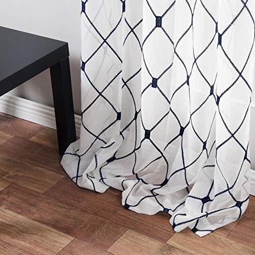 Geometrische geborduurde vitrages Tule gordijnen voor keuken Woonkamer Slaapkamer Wit Voile voor Cafe, Navy, W200 x H250cm