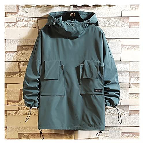 JUNTOP Uomo Autunno Giacche Solid Coats Sincewear Streetwear Casual Spring Outwear Hiphop Thin Top Pullover Abbigliamento da Uomo di Grandi Dimensioni M-5XL. (Color : Green Blue, Size : L(55-62kg)