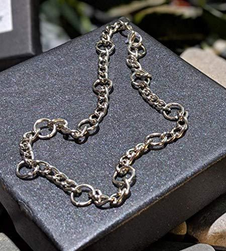 Handmade Unisex Silverplate Strong Steel Ankle Bracelet Anklet. Gift Packaged. Men, Ladies, Girls, Boys Bare Feet. Guaranteed not to break!