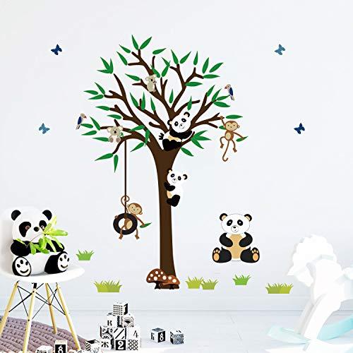 decalmile Wandtattoo Panda Bären Baum Wandsticker AFFE AST Wandaufkleber Kinderzimmer Babyzimmer Schlafzimmer Wanddeko