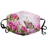 Maschere per la bocca unisex personalizza rose fiori farfalle rosa antipolvere anti inquinamento poliestere maschera per il motociclo riutilizzabile