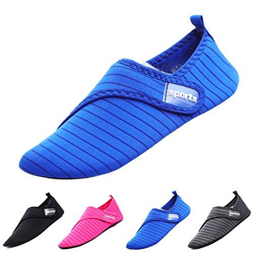 APTRO Water Shoes for Women/Men Aqua Socks for Swimming Kayaking Beach Stripes Belt-Blue 44/45