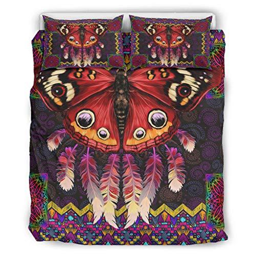 AbnoeruNVsb Native American Butteryfly Red Warm Three-Piece Bed Set Hypoallergenic Bedding Set for Home White 90x90 inch