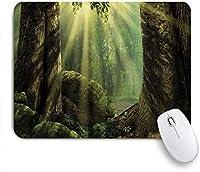 マウスパッド 個性的 おしゃれ 柔軟 かわいい ゴム製裏面 ゲーミングマウスパッド PC ノートパソコン オフィス用 デスクマット 滑り止め 耐久性が良い おもしろいパターン (コケの木の体に太陽光線の反射で自然の森)