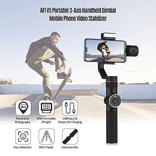 TOPTOO AFI V5 Portátil Estabilizador de Video de 3 Ejes con Dispositivo móvil portátil con luz de Relleno Regulable Disparo Vertical Time-Lapse Toma panorámica panorámica para teléfonos Inteligentes