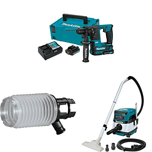 "Makita RH01R1 12V max CXT Brushless 5/8"" Rotary Hammer Kit, 198362-9 Dust Extraction Cup, XCV04Z 18V X2 LXT (36V) 2.1 Gallon HEPA Filter Dry Dust Extractor/Vacuum"