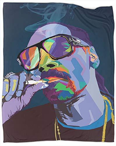 Coobals Snoop Dog WPAP Pop Art Manta de forro polar, tamaño manta de felpa, manta estampada para sofá, dormitorio, decoración de 127 x 106 cm