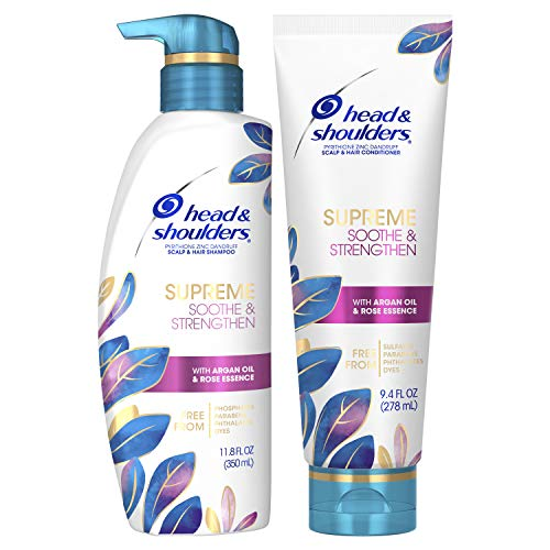 Head and Shoulders Supreme, Dry Scalp Care and Dandruff Treatment Shampoo and Conditioner Bundle, with Argan Oil and Rose Essence, Soothe and Strengthen Hair and Scalp, 11.8 Fl Oz