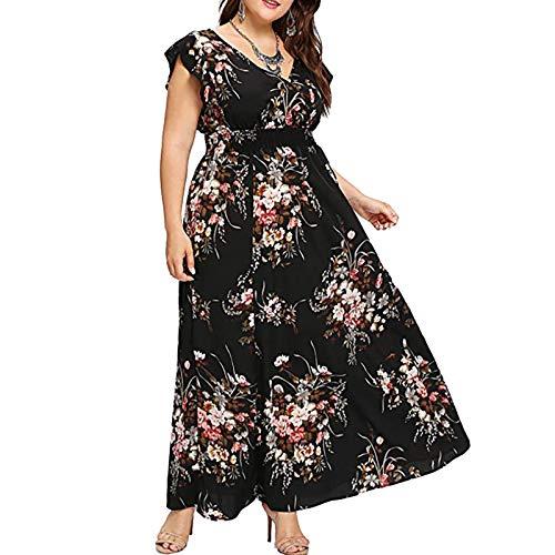 Vestido largo y elegante para mujer con estampado de flores, talla grande, con cierre de solapa, de verano, color amarillo, rosa y negro. Negro M-36/38/40
