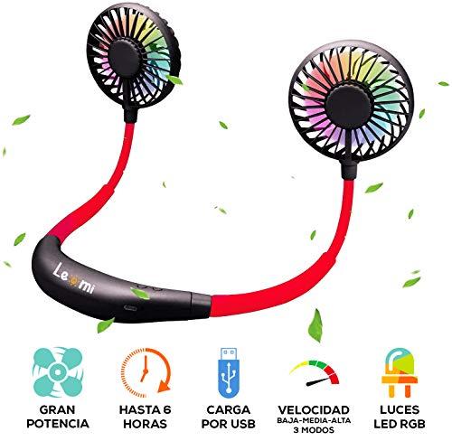 Le-mi Mini Ventilador de Cuello USB Recargable Potente portátil LED Colgante Manos Libres pequeño con batería de 2000 mAh (Negro/Rojo)