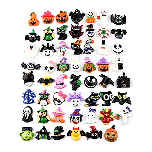 YUZI 30 piezas de resina surtidos accesorios de Halloween calabaza cráneo murciélago plano scrapbook