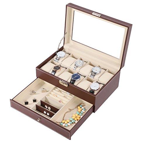 BASTUO 12 Uhrenbox Uhrenkasten Schmuckbox mit PU Leder Schmuck Vitrine mit Schlüssel und Schloss, braun
