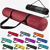 Xn8 Fitness Yogamatte mit Tragegurt - für Pilates Yoga Gymnastikmatte - 183 x 63 x 0,6cm Trainingsmatte rutschfest Sportmatte (Rubin)
