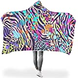 LiGHT-S Leopard Tiger Hooded Blanket Super Soft Warm Sherpa Throw Blanket Plush Fleece Blanket Wearable Blanket for Kids and Adults