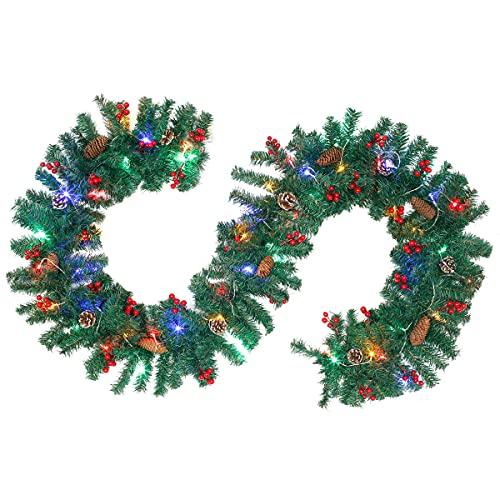 2,7 m Ghirlanda Natalizia con luci Ghirlanda Natale verde di abete Artificiale con 50 LED Ghirlanda con Pigne, Bacche Rosse per Decorazione scale Caminetti Domestica (con 50 led, 2,7m 220punte)