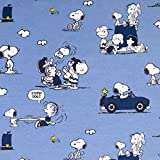 Baumwolljersey Peanuts Snoopy Cabrio jeansblaul - Preis